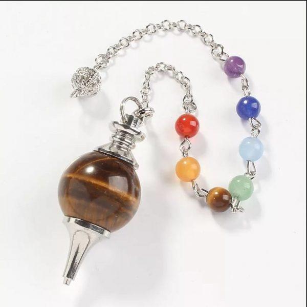 Bergkristal pendel met 7 Chakrasteentjes