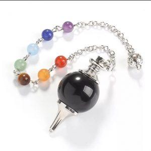 Zwarte Onyx Pendel met 7 Chakrasteentjes